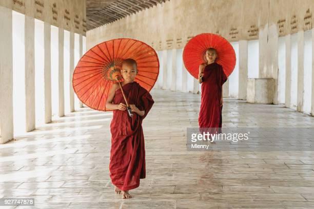 Burmese Novice Monks Monastery Archway Myanmar