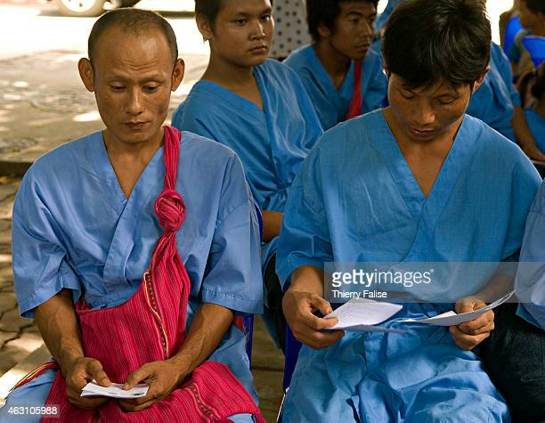 Burmese refugees candidate to a resettlement in a third country are waiting for a medical screening at the Mae Sot Pawo hospital Some 45000 people...