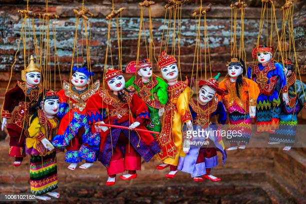Burmese traditional puppets for sale  in one of the ancient temples of Bagan, Myanmar