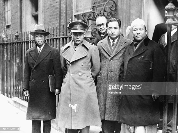 Burmese Vice President Aung San arriving at 10 Downing Street with his delegation Thakin Mya Aung San U Tin Tut and Thakin Ba Sein London January...