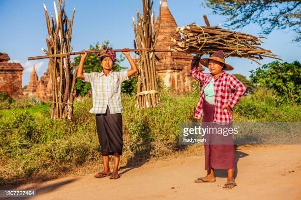 burmese women carrying brushwood - myanmar stock pictures, royalty-free photos & images