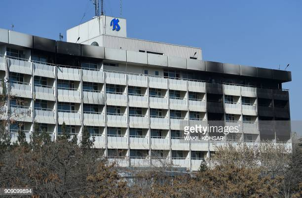 Burn damage is pictured at the Intercontinental Hotel in Kabul on January 23 following an attack Taliban militants who killed at least 22 people at a...