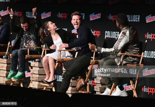 Burn Gorman Cailee Spaeny Scott Eastwood and John Boyega speak onstage during the 2017 New York Comic Con on October 6 2017 in New York City