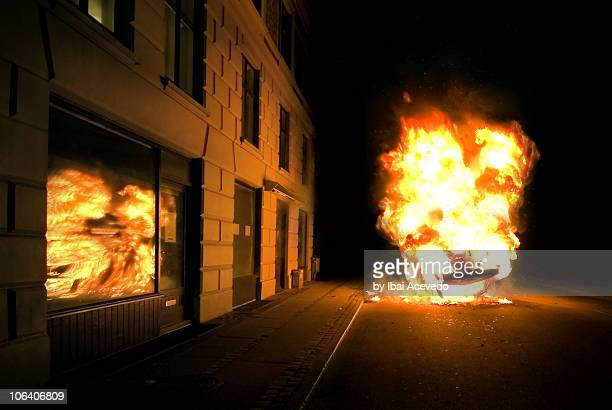 burn night - detonate stock photos and pictures