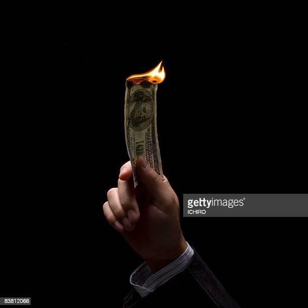 burn one-dollar bill