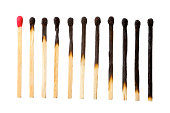 burn out of matches isolated on white
