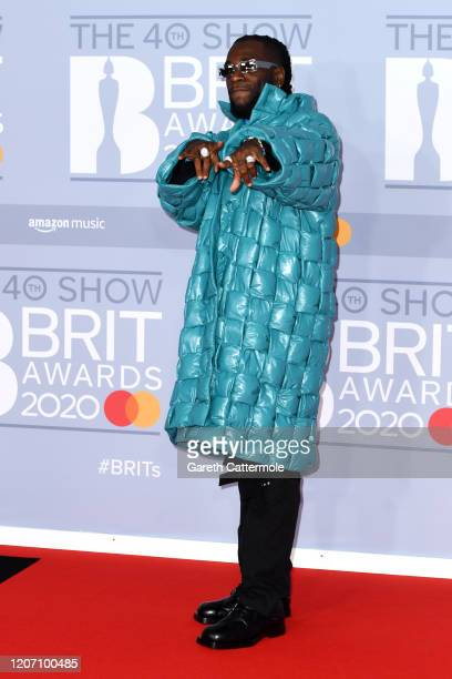 Burna Boy attends The BRIT Awards 2020 at The O2 Arena on February 18 2020 in London England