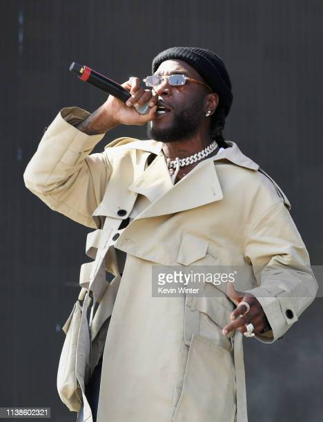 Burna Boy performs at Coachella Stage during the 2019 Coachella Valley Music And Arts Festival on April 21 2019 in Indio California