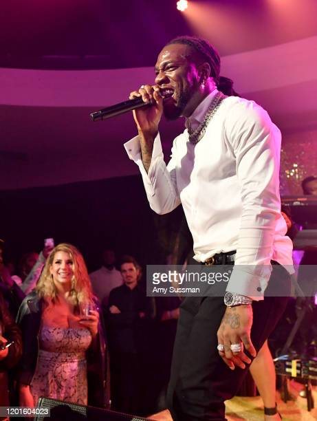 Burna Boy performs onstage at the Warner Music Group PreGrammy Party at Hollywood Athletic Club on January 23 2020 in Hollywood California