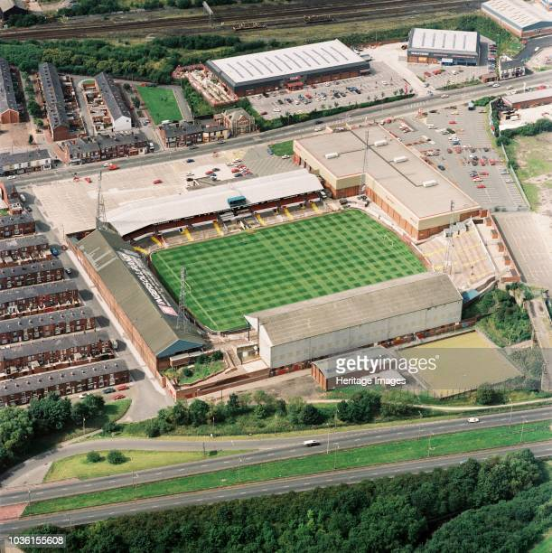 Burnden Park, Bolton, Greater Manchester, 1992. Aerial view of the former home of Bolton Wanderers Football Club. The Trotters moved to the Reebok...