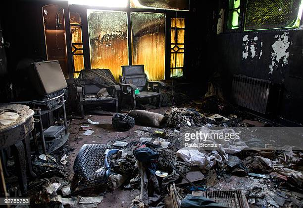 Burned bedroom inside the destroyed UN guest house November 5, 2009 in Kabul, Afghanistan. The UN has decided to pull 600 staff temporarily due to...
