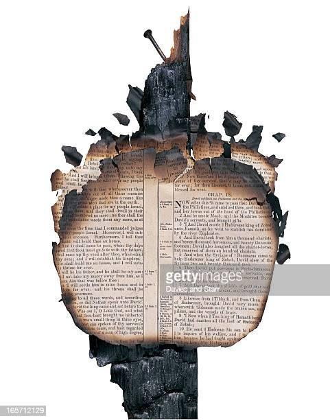 Burned Bible on Post