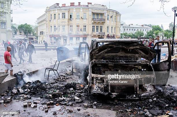 Burned car in Odessa May 2 during cofrontation between activists of Euromaidan and Antimaidan.