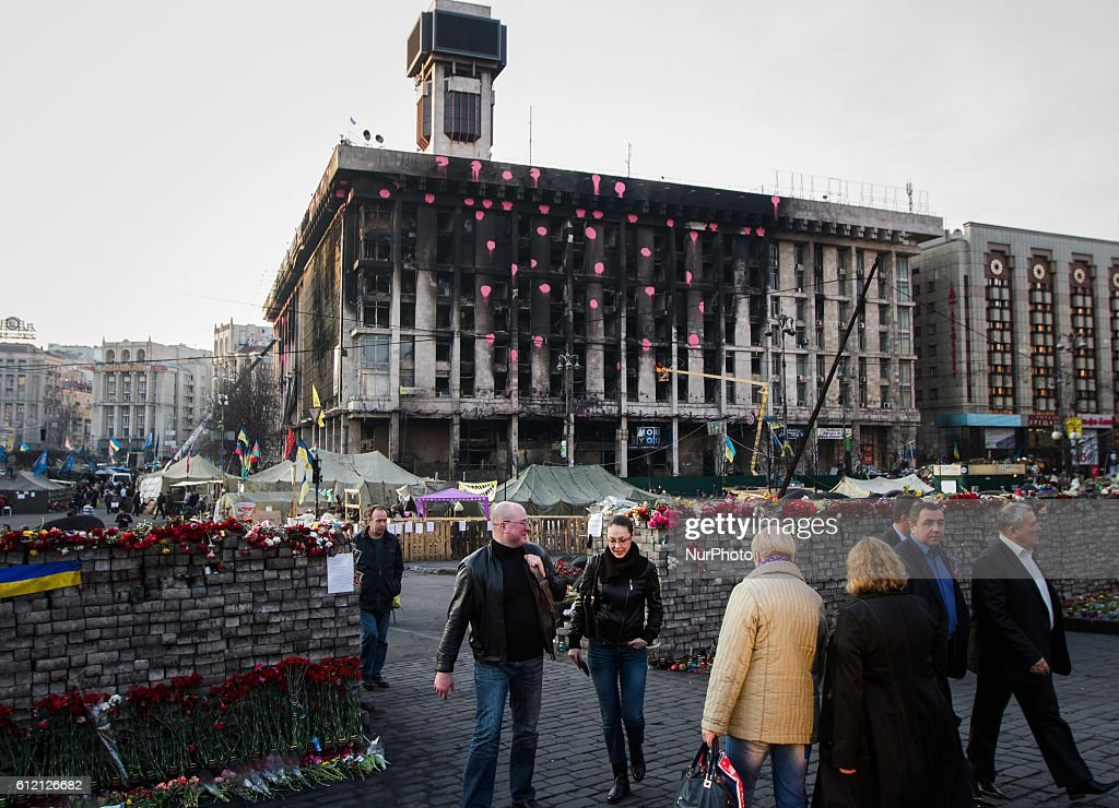 Kiev center is made over memorial : ニュース写真