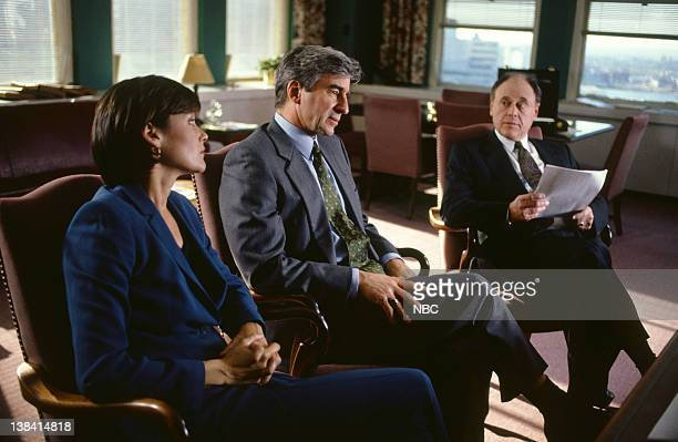 LAW ORDER Burned Episode 9 Air Date Pictured Carey Lowell as ADA Jamie Ross Sam Waterston as Executive ADA Jack McCoy Bob Dishy as Lawrence Weaver