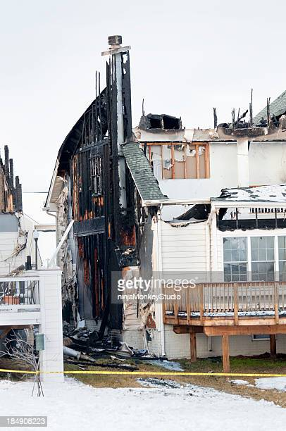 Burned House Exterior Destroyed by Fire