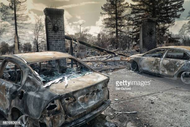 burned neighborhood in california - california fire stock photos and pictures
