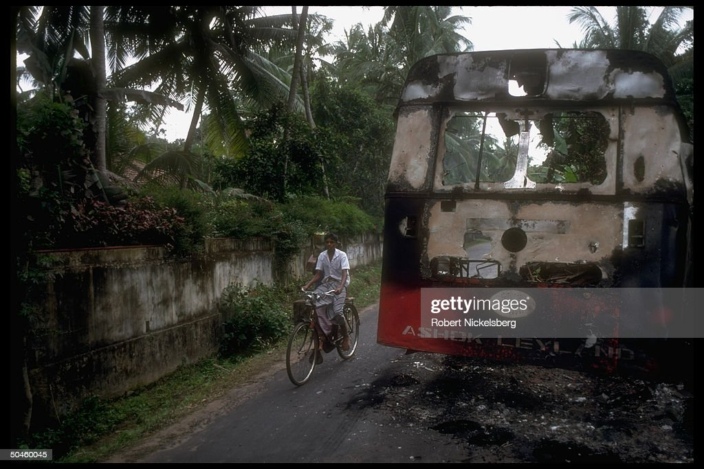Burned out bus destroyed by marxist JVP-Sinhalese People's ...