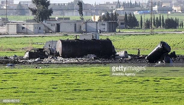 Burned out parts of an oil refinery are seen after the USled coalition carried out an air strike on Daesh targets in the town of Tell Abyad in Raqqa...