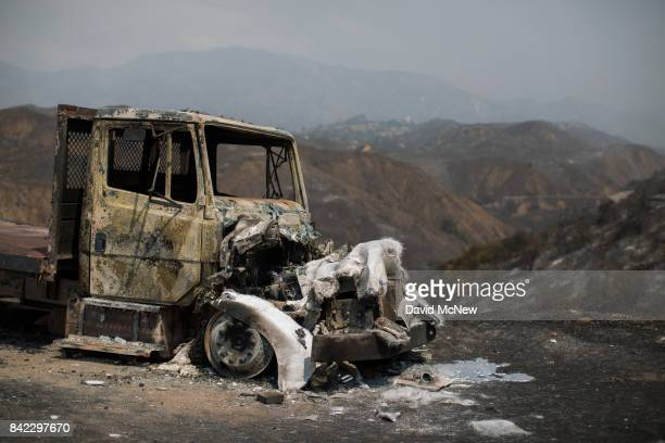 Burned truck is seen at the La Tuna Fire on September 3, 2017 near Burbank, California. At nearly 6,000 acres, the fire is the biggest fire in terms...