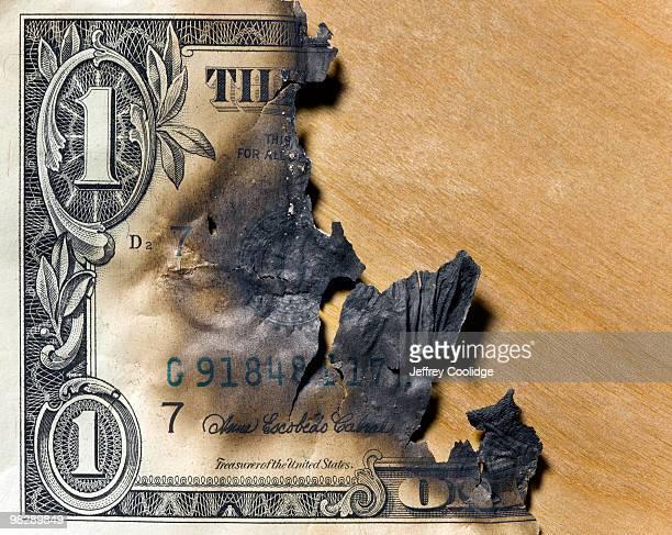 Burned US Dollar Bill
