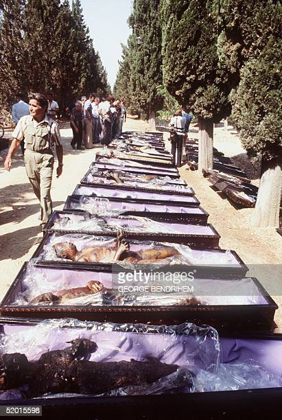 Burned victims lying in coffins 12 July 1978 at Los Alfaques campsite devastated at 03 pm 11 July 1978 by a propane gas explosion after a truck...
