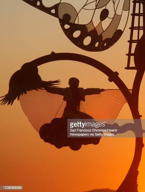 A burner climbed a huge butterfly art structure to watch the sunrise over the playa at the Burning Man Festival in Black Rock City NV September 5 2009