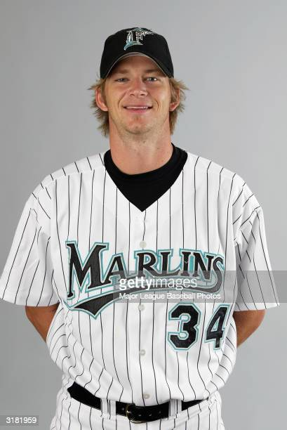 A J Burnett of the Florida Marlins on February 28 2004 in Jupiter Florida