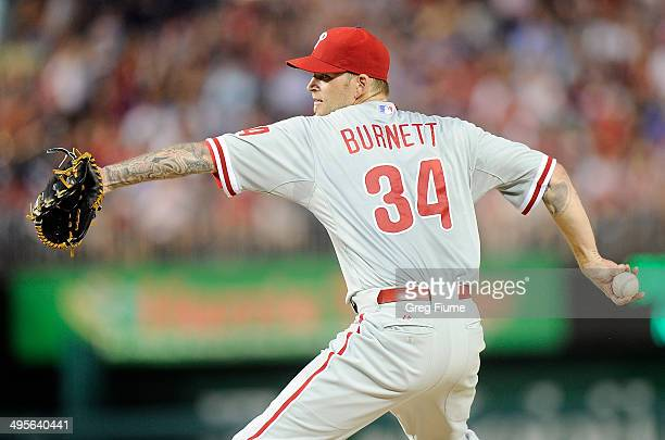 J Burnett of the Philadelphia Phillies pitches in the third inning against the Washington Nationals at Nationals Park on June 4 2014 in Washington DC