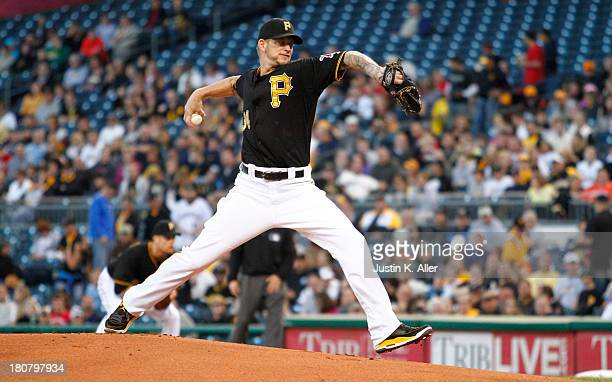J Burnett of the Pittsburgh Pirates pitches in the first inning against the San Diego Padres during the game on September 16 2013 at PNC Park in...
