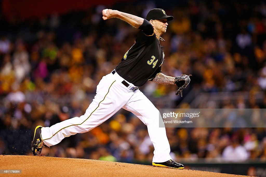 A.J. Burnett #34 of the Pittsburgh Pirates pitches in the first inning against the Cincinnati Reds during the game at PNC Park on October 3, 2015 in Pittsburgh, Pennsylvania.