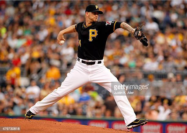 J Burnett of the Pittsburgh Pirates pitches in the first inning during the game against the San Diego Padres at PNC Park on July 6 2015 in Pittsburgh...