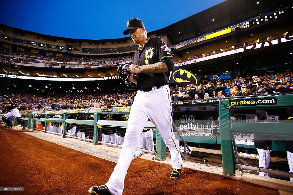A.J. Burnett #34 of the Pittsburgh Pirates takes the field in the first inning for his final career regular season game against the Cincinnati Reds during the game at PNC Park on October 3, 2015 in Pittsburgh, Pennsylvania.