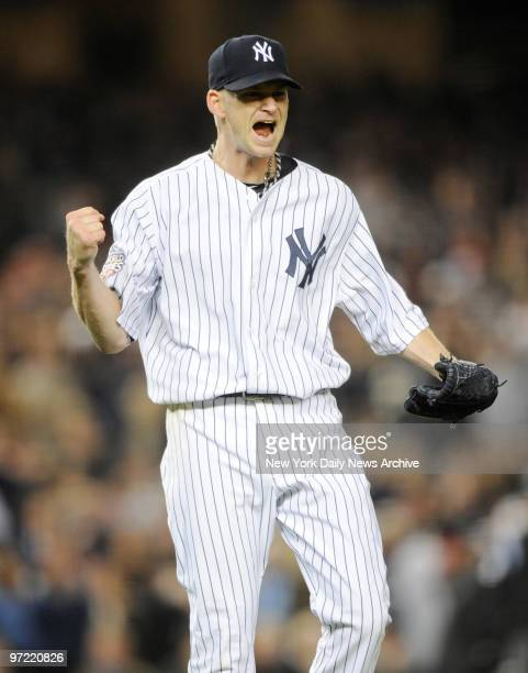 J Burnett reacts after striking out Ryan Howard to end the top of the 3rd inning New York Yankees won Game 2 of the World Seris against the...