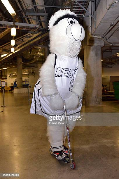 Burnie the mascot of the Miami Heat arrives before Game Three of the Eastern Conference Finals against the Indiana Pacers on May 24 2014 in Miami Fl...