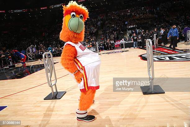 Burnie the mascot of the Miami Heat during the Taco Bell Skills Challenge as part of NBA AllStar 2016 on February 13 2016 at Air Canada Centre in...