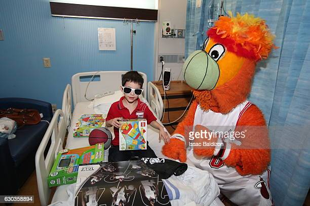 Burnie the mascot the Miami Heat participate in a hospital visit on Monday December 19 2016 in Miami Florida NOTE TO USER User expressly acknowledges...