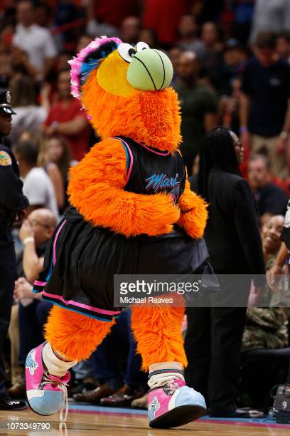 Burnie the Miami Heat mascot during the game between the Miami Heat and the Utah Jazz at American Airlines Arena on December 2 2018 in Miami Florida...