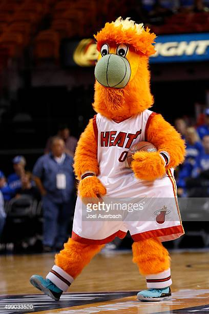 Burnie the Miami Heat mascot performs prior to the tipoff between the Kentucky Wildcats and the South Florida Bulls on November 27 2015 at the...