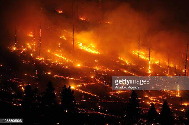 Burning areas of the southeastern flank of the Tennant Fire in California, United States on July 4, 2021. Fire has been burning since June 24, 2021...