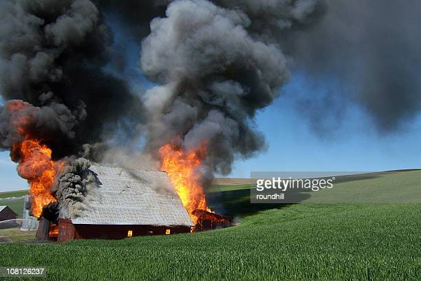 burning barn in the palouse - house collapsing stock pictures, royalty-free photos & images