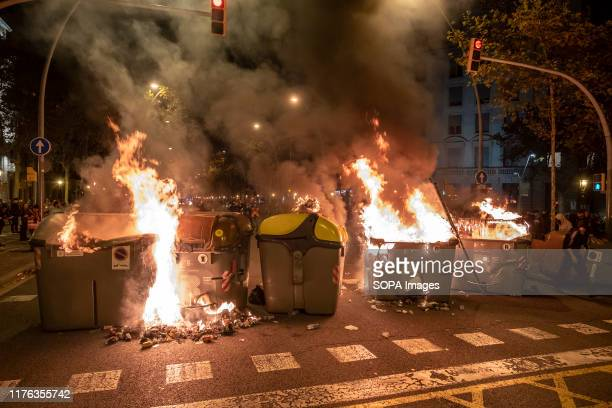 Burning barricades in the middle of the road during the demonstration Hundreds of protesters concentrated on the Gran Vía Street in Barcelona during...