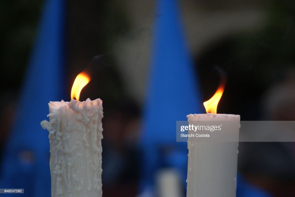 Burning candles in a procession in Jerez de La Frontera in Cadiz, Spain : Stock Photo