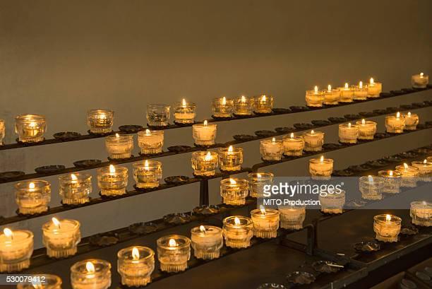 Burning candles in church, Carinthia, Austria