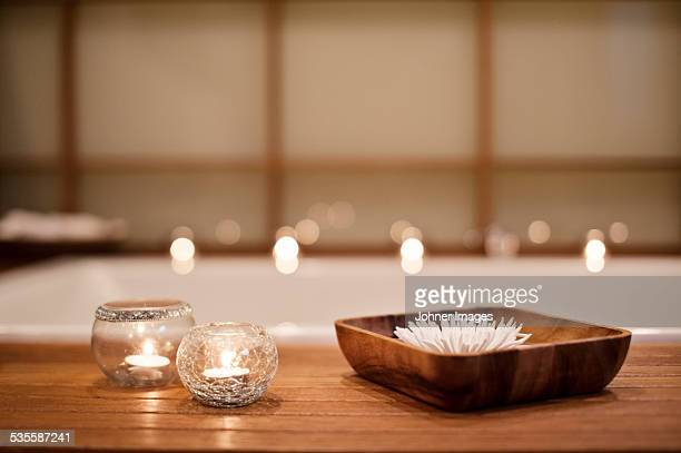 Burning candles in spa