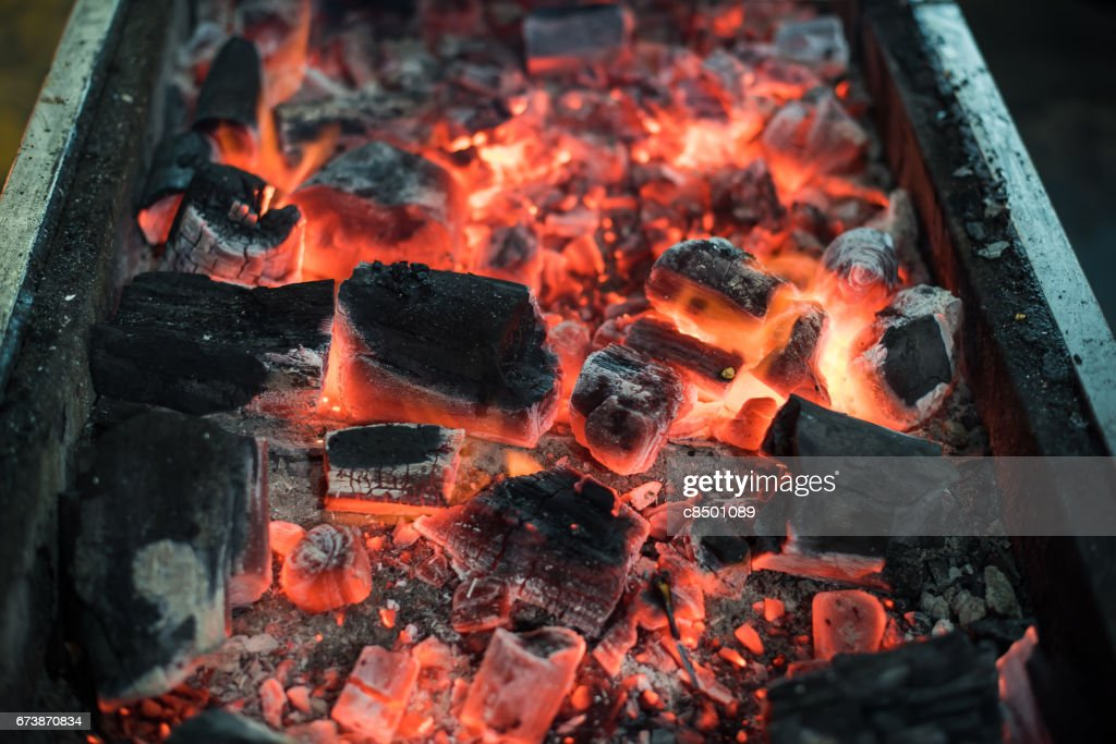 Burning Charcoal For Grill Stock Photo