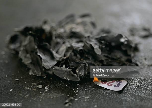 Burning corner of UK twenty pound note and pile of ash, close-up