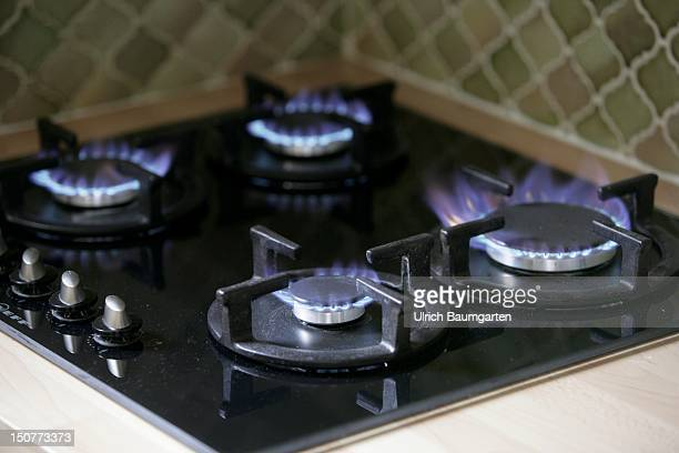 Burning gas flames of a gas cooker