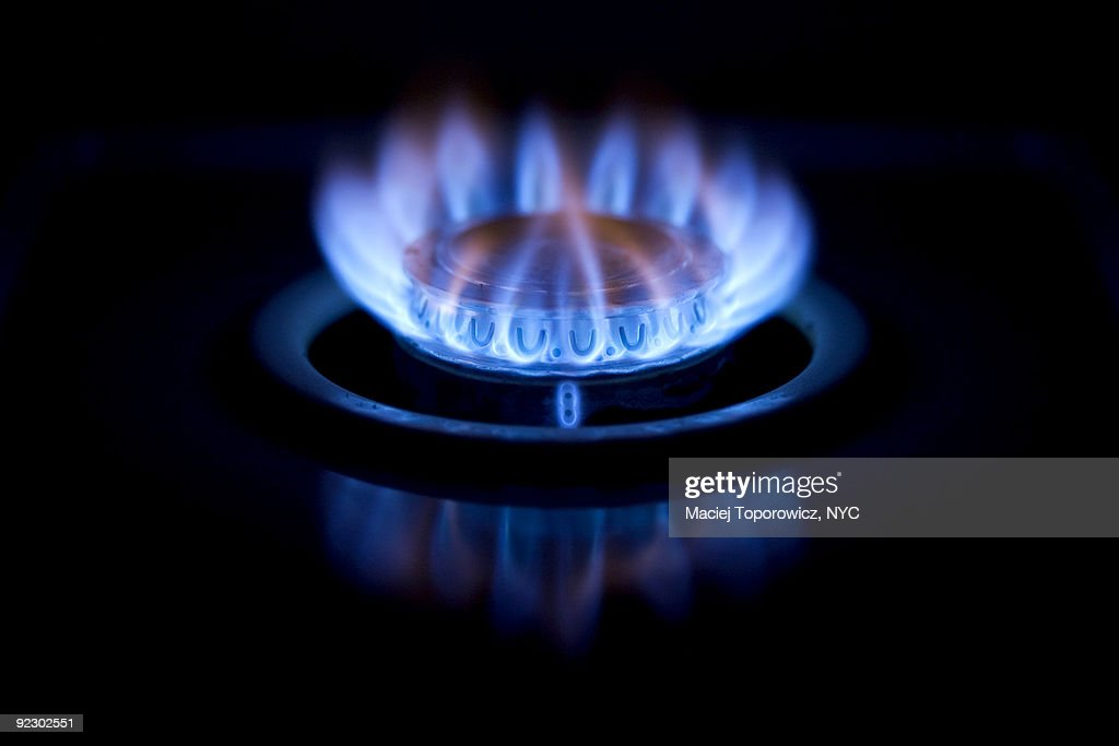 Burning gas oven : Stock-Foto