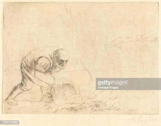 Burning Grass . Artist Alphonse Legros.